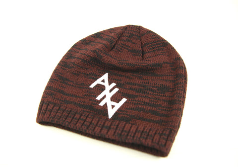 Stitched AHA Beenie (Mottled Red and Black)