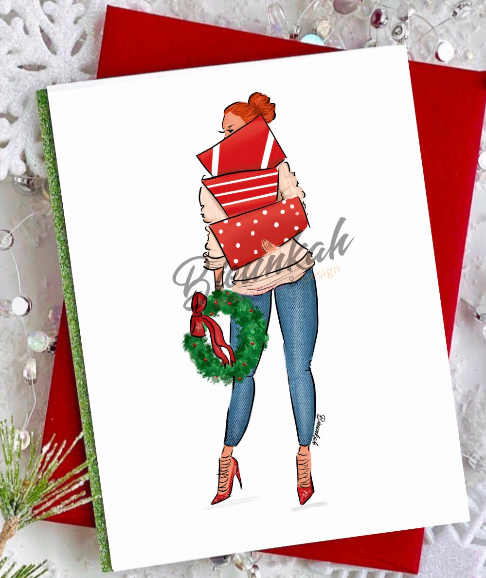 """Shopping in Style"" Greeting Card - Multiple Skintones & Hair"