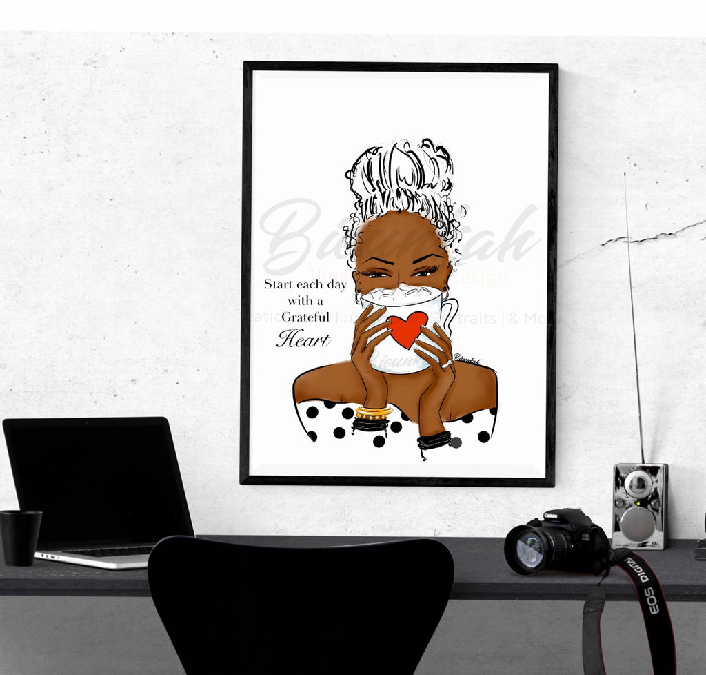 """Grateful"" Fashion Illustration Print - Unframed"