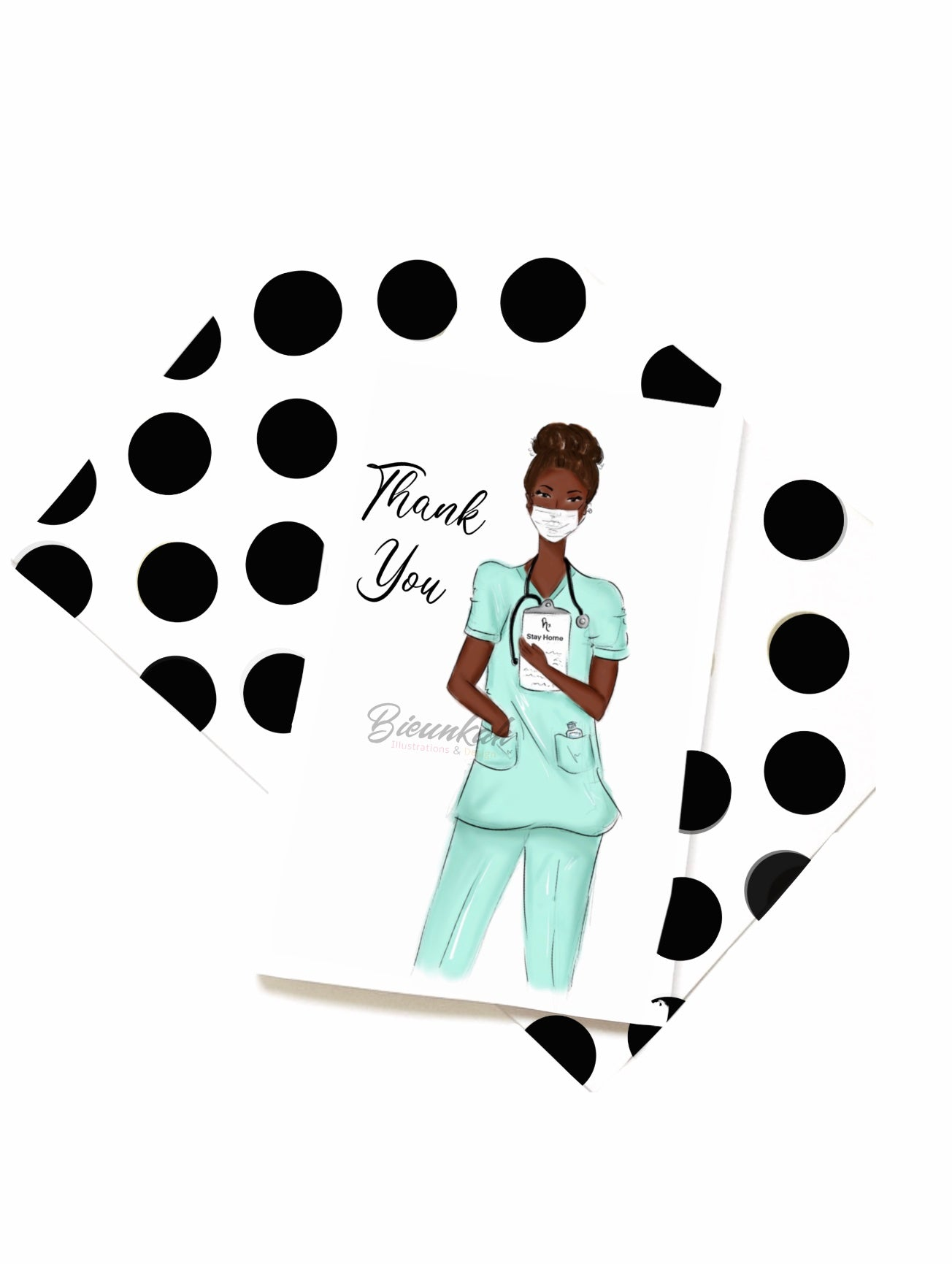 """Essential"" Thank You Card - Multiple Skintones & Hair"
