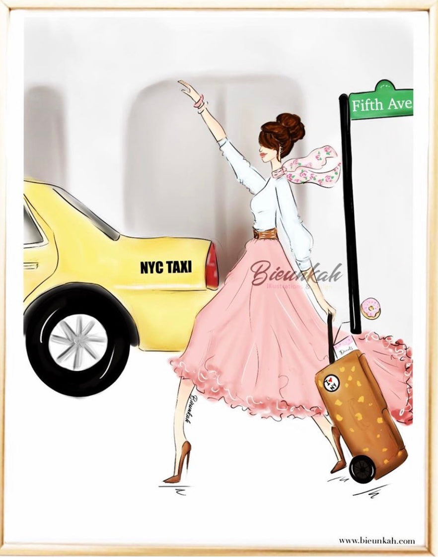 """Taxi"" Fashion Illustration Print - Unframed"