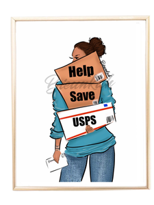 """Support USPS"" Fashion Illustration Print - Unframed"