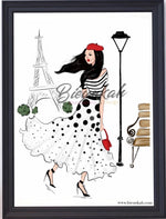 """A Night in Paris"" Fashion Illustration Print - Unframed"