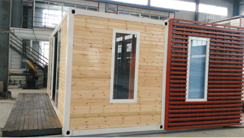 2 bedroom 20ft container home with wood furnishings