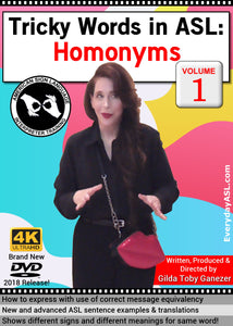 Tricky Words in ASL: Homonyms, Vol. 1 DVD with FREE S&H