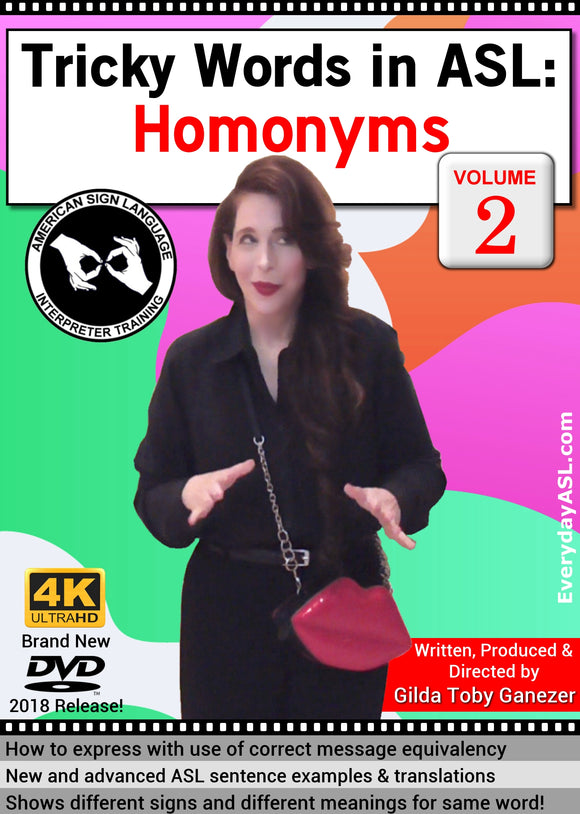 Tricky Words in ASL: Homonyms, Vol. 2 DVD with FREE S&H
