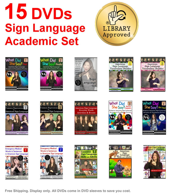 15 DVD Sign Language Budget Academic Set - Free Shipping