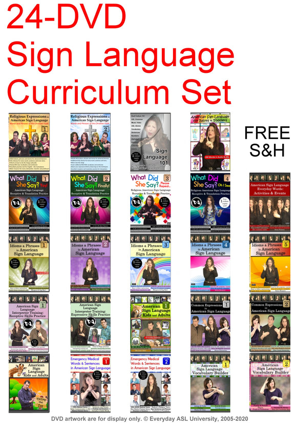 24-DVD Sign Language Curriculum Set + FREE S&H