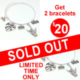 "2 ASL ""I Love You"" Silver Bangle Bracelets with 5 charms including big Heart - FREE S&H"
