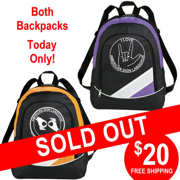 2 ASL Backpacks for $20 - ONE DAY ONLY - free S&H!