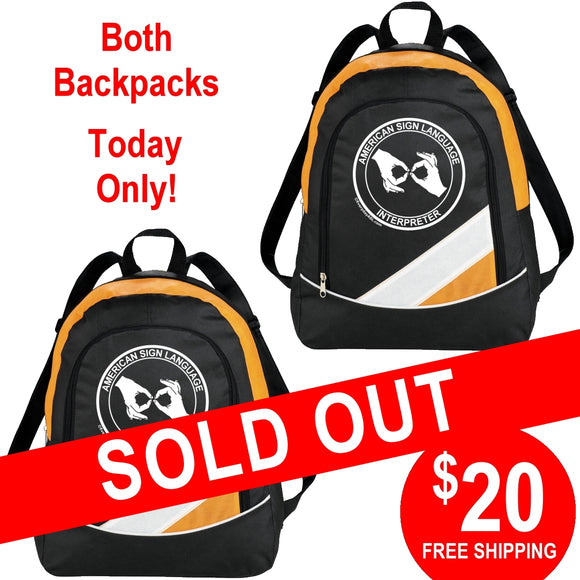 2 Orange ASL Interpreter Backpacks for $20 - free S&H!