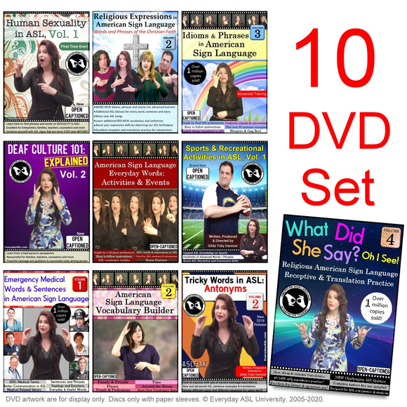 NEW for 2020! 10-DVD ASL Set and FREE S&H