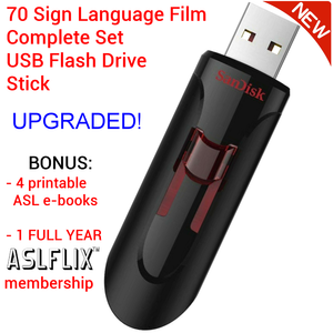 Student Rate 70 ASL Film Complete Set USB Flash Drive UPGRADED + BONUS & FREE S&H