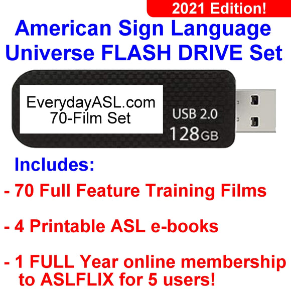 2021 Edition American Sign Language Universe Flash Drive Set with FREE S&H