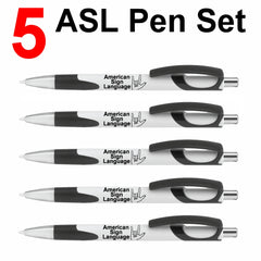 "Set of 5 Black ASL ""I Love You"" Click Action Ballpoint Pens - Free S&H"