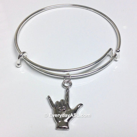 "Alex and Ani Inspired ASL ""I Love You"" Silver Bangle Bracelet - BRAND NEW - FREE Ship!"