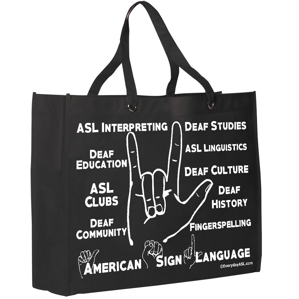 I love you asl and deaf culture tote bag everyday asl i love you tote all about deaf world and asl free sh biocorpaavc Image collections