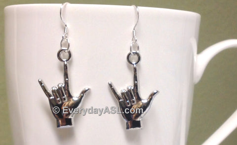 "ASL ""I Love You"" Earrings with Sterling Silver Hooks - BRAND NEW - FREE Ship!"