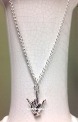 "ASL ""I Love You"" Silver Necklace - FREE Ship - New"