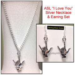 "ASL ""I Love You"" Silver Necklace + Sterling Silver Earring Set - FREE Ship - New"