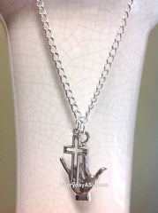 "ASL ""I Love You"" Silver Pendant with Cross Necklace - BRAND NEW - FREE Ship!"
