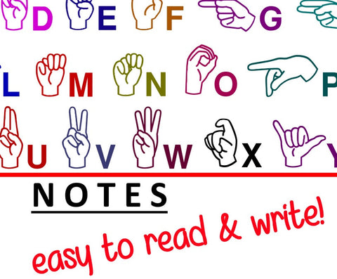 ASL Notepad - 50-sheets multicolor and writable - free S&H!