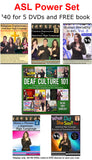 ASL Power Set - 5 DVDs and Free Deaf Culture 101 Book - $40