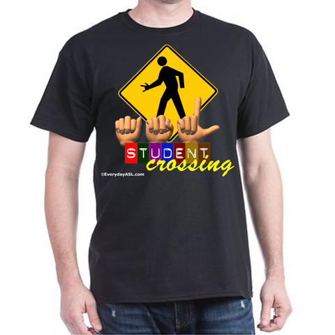 Black American Sign Language ASL Student Crossing T-Shirt Brand New - Free Ship!