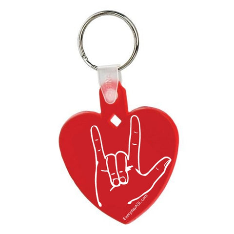 "ASL Heart ""I Love You"" Red Keychain - Free S&H"