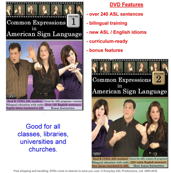 Common Expressions in American Sign Language, Vol. 1-2 Set (2 DVDs)