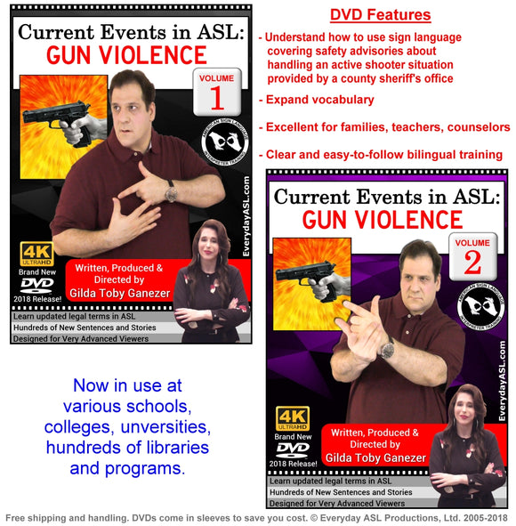 New 2-DVD Set - Current Events in ASL: GUN VIOLENCE, Vol. 1-2