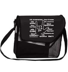"Deaf Culture / ASL ""ILY"" Black Canvas Messenger Bag"