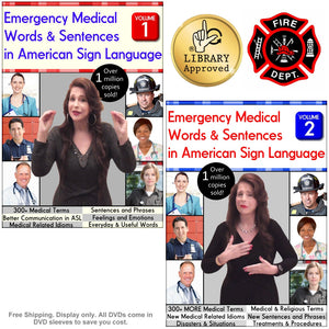 DISCOUNTED Emergency Medical Words & Sentences in American Sign Language, Vol. 1-2 (2-DVD Set)