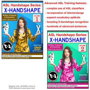 New 2-DVD Set - ASL Handshape Series: X-Handshape, Vol. 1-2