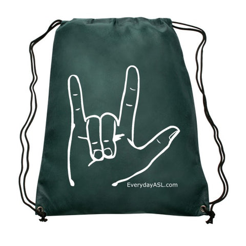 "NEW! ASL ""I LOVE YOU"" Hunter Green Drawstring Backpack - free S&H!"