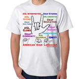 American Sign Language / Deaf Culture Multicolor T-Shirt Brand New - Free Ship!