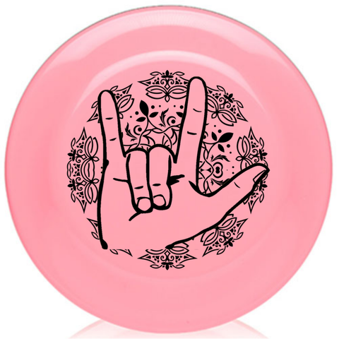 "Baby Pink American Sign Language ""I LOVE YOU"" - Lace Frisbee 9.25 Inches BIG - FREE Ship!"