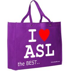 I ❤ ASL Tote - Show your love for ASL everywhere - it is the BEST! - free S&H!