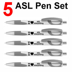 NEW! Set of 5 Gray I ❤ ASL Interpreting Click Action Ballpoint Pens - Free S&H