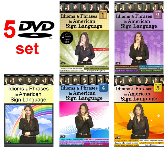 Idioms & Phrases in ASL, Vol. 1-5 (5-DVD Set) with FREE Shipping