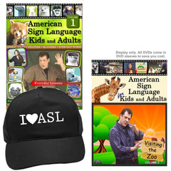 ASL for Kids and Adults, Vol. 1-2 (2 DVDs) + I ❤ ASL Black Baseball Cap