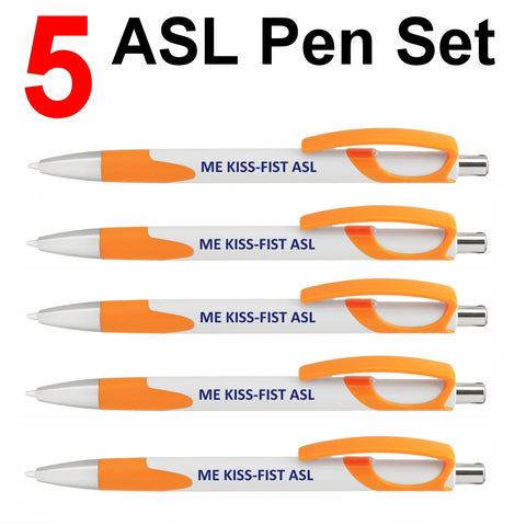"NEW! Set of 5 Orange ""ME KISS-FIST ASL"" Click Action Ballpoint Pens - Free S&H"
