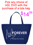 Something New for you: Navy Blue ASL I Love You Tote Bag with FREE choice of ASL DVD