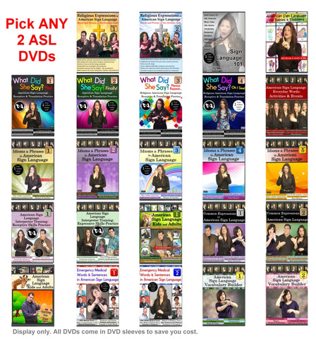 RESERVED FOR CATHERINE HECKEL :: Pick ANY 2 ASL DVDs for $23 with Free Silver ASL Necklace