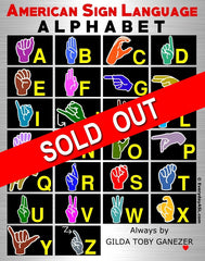 American Sign Language Alphabet Full Color Poster - Signed by Artist - FREE Ship!
