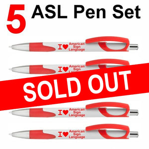 NEW! Set of 5 Red I ❤ American Sign Language Click Action Ballpoint Pens - Free S&H