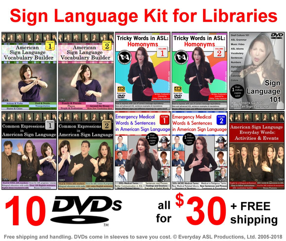 10 DVD Sign Language Kit - Free Shipping