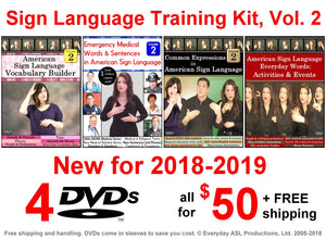 4 DVD Sign Language Training Kit, Vol. 2 - Free Shipping