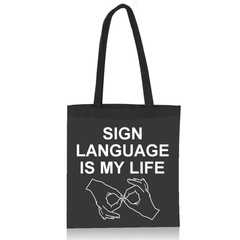 Sign Language is My Life Black Canvas Tote Bag - FREE Ship!
