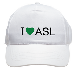 I ❤ ASL - White Baseball Cap with free shipping NEW